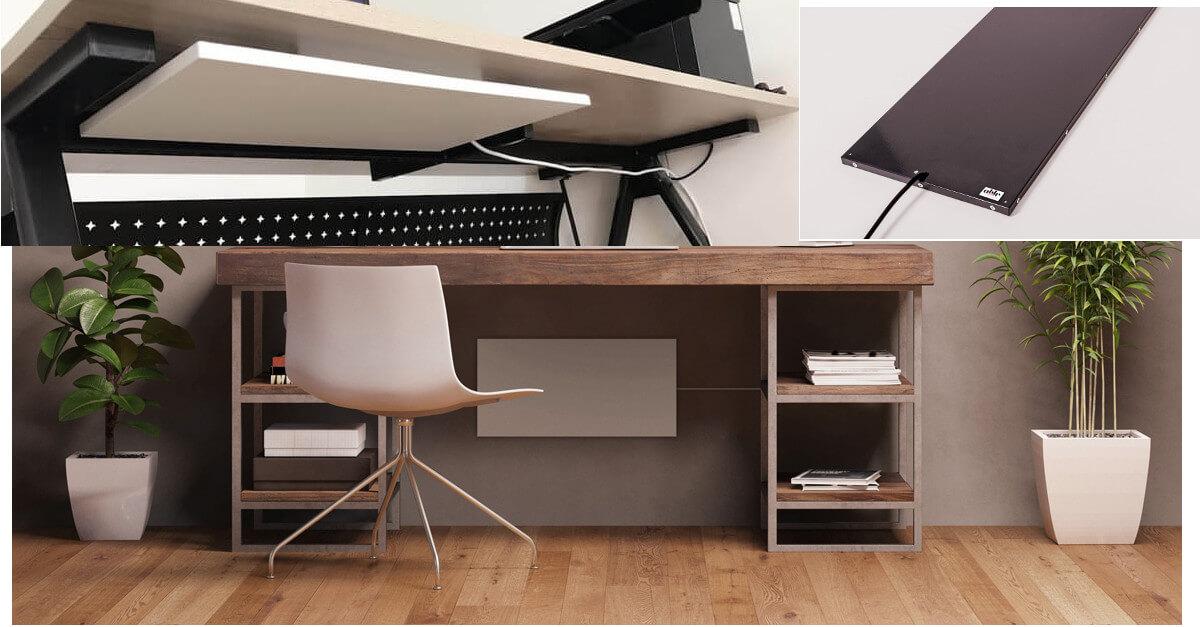 infrarot heizung f r schreibtisch unter dem tisch f r beinbereich gegen kalte f e. Black Bedroom Furniture Sets. Home Design Ideas